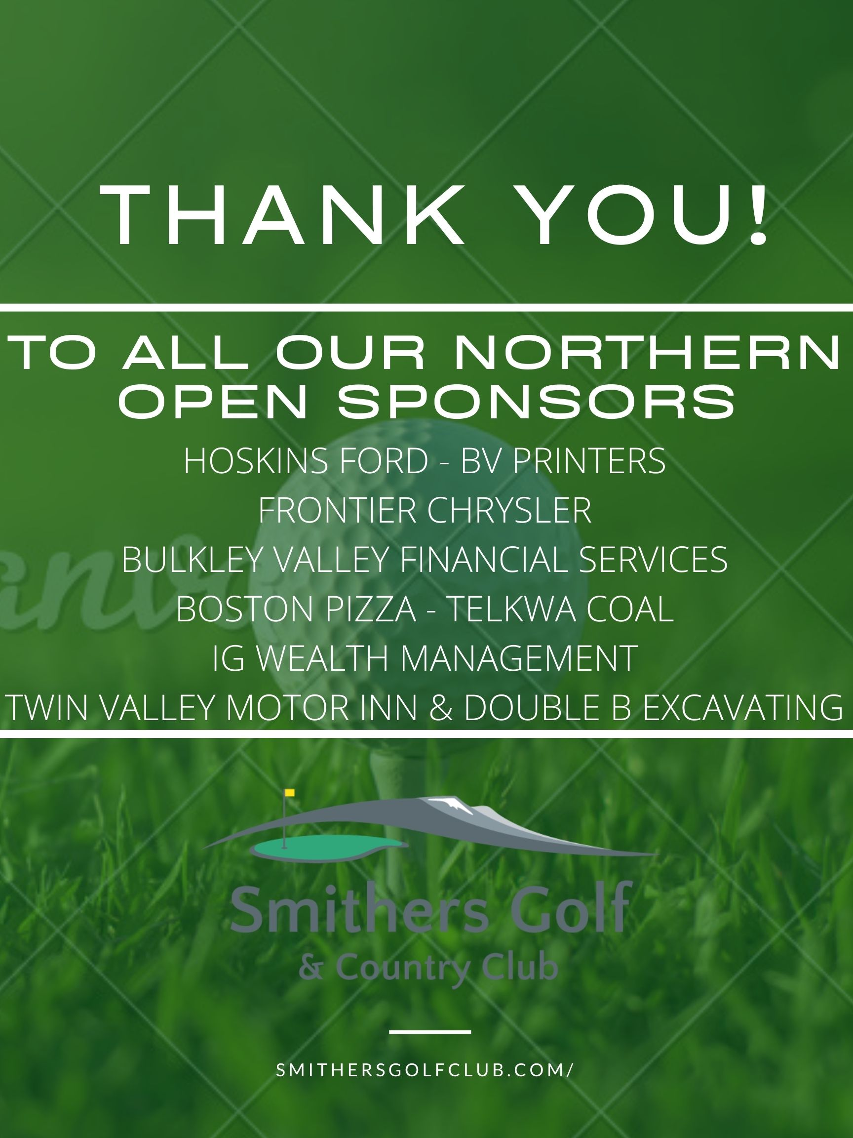 Thank you to our 2020 Northern Open Sponsors!